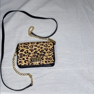 Calf hair leopard print faux leather crossbody